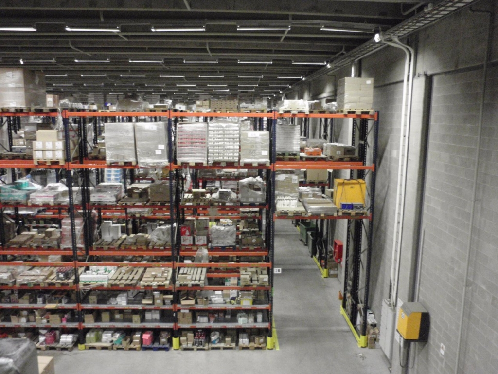 A large warehouse with pallet shelves.