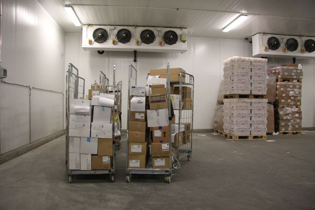 Frozen storage warehouse with cardboard boxes.