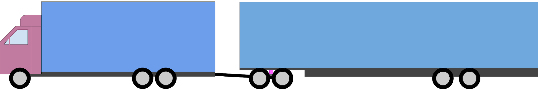 A 3-axle truck with a 4 axle trailer.