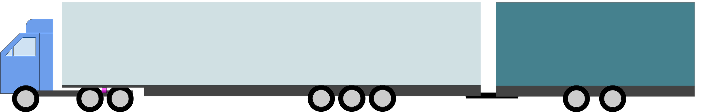 A 3-axle truck with a 3-axle semi-trailer extended wit a 2-axle center-axle trailer.